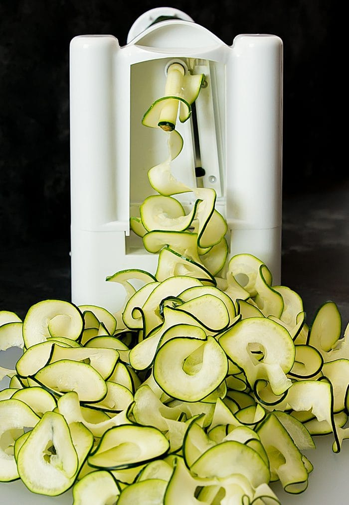 photo of zucchini ribbons being made