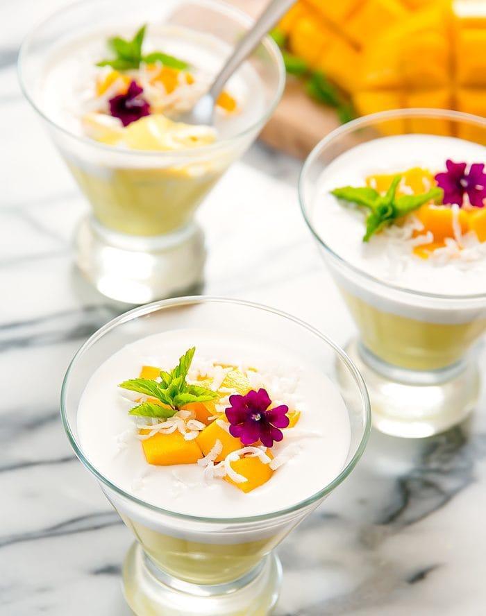 photo of three Mango Coconut Pudding