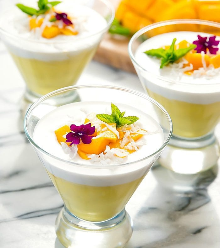 photo of glasses of mango pudding