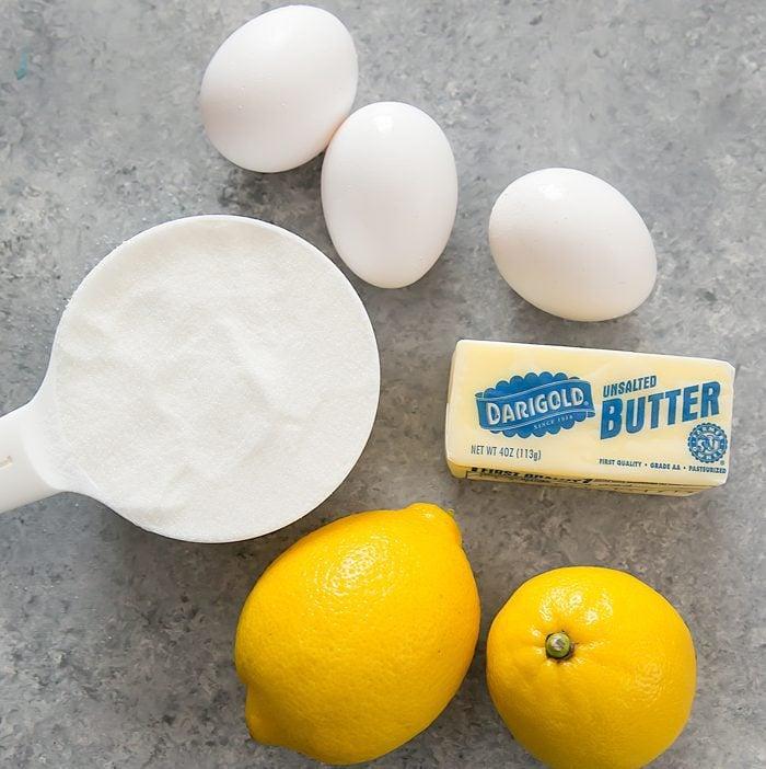 overhead photo of ingredients for microwave lemon curd