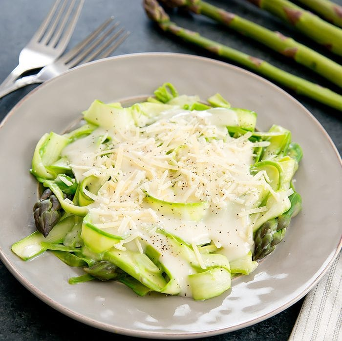 photo of Asparagus Noodles with Garlic Cream Sauce