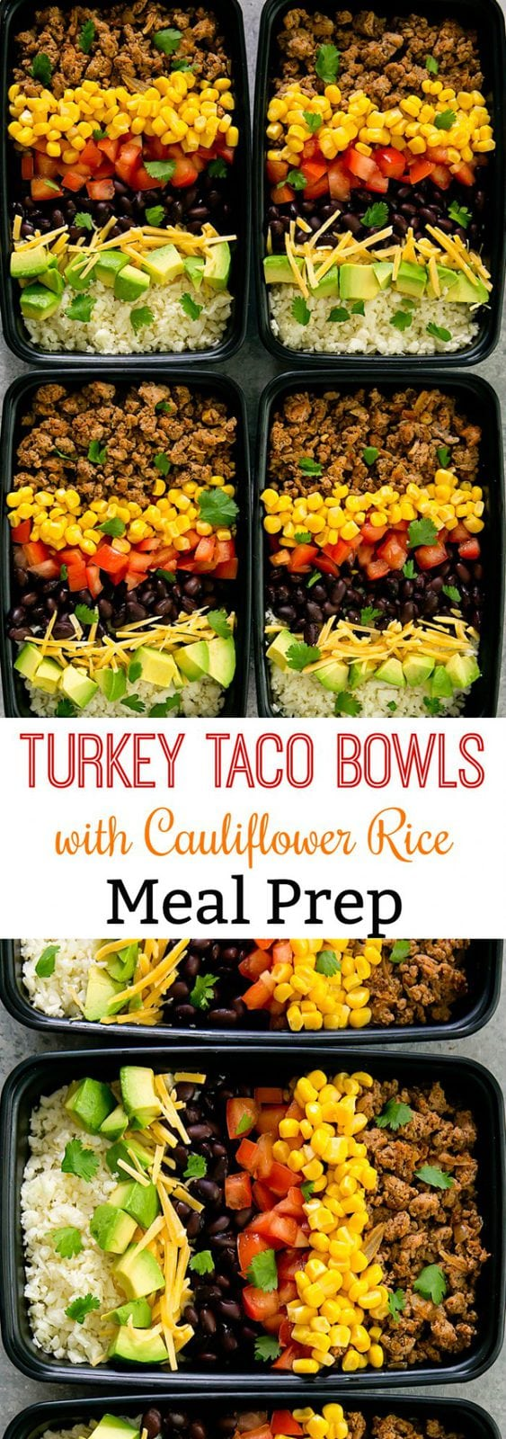 Skinny Turkey Taco Bowls with Cauliflower Rice Meal Prep