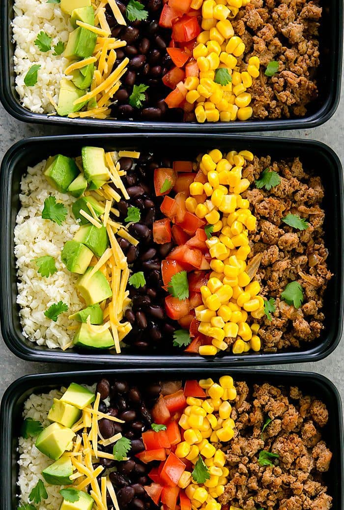 close-up overhead photo of turkey taco bowls