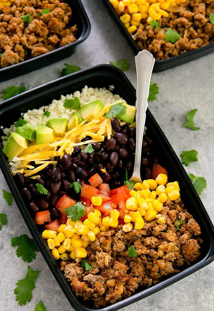 close-up photo of turkey taco bowl with a fork