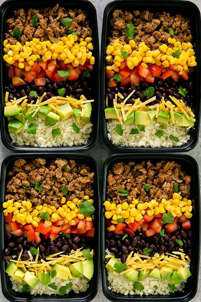 overhead photo of four Turkey Taco Bowls