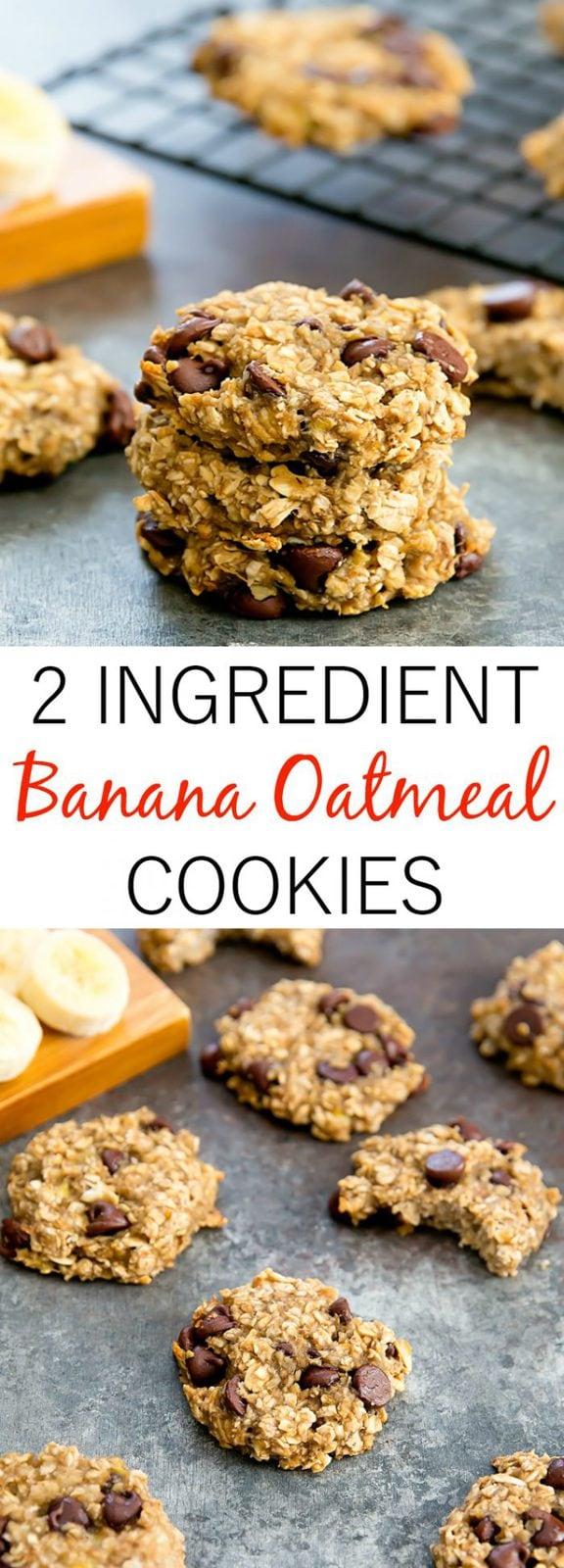 2 Ingredient Banana Oatmeal Breakfast Cookies
