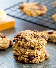 photo of a stack of banana oatmeal cookies