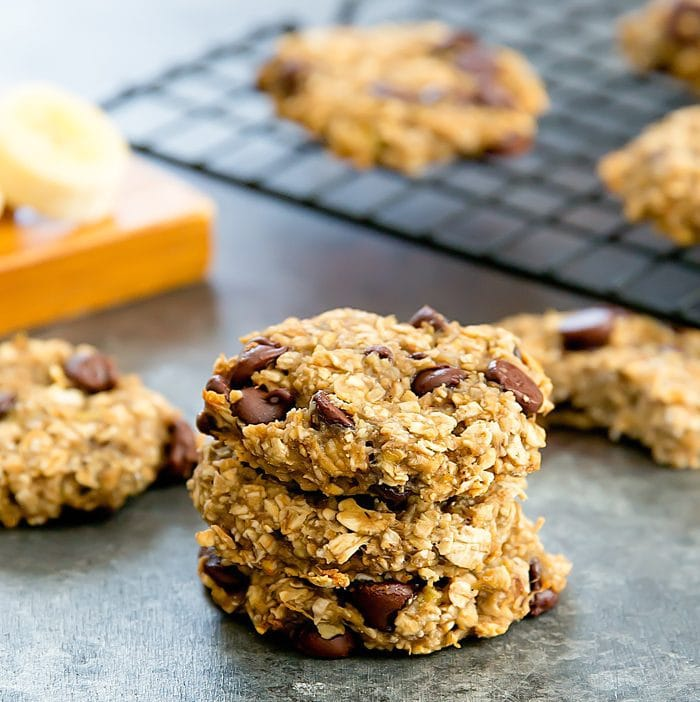 photo of a stack of 2 Ingredient Banana Oatmeal Cookies