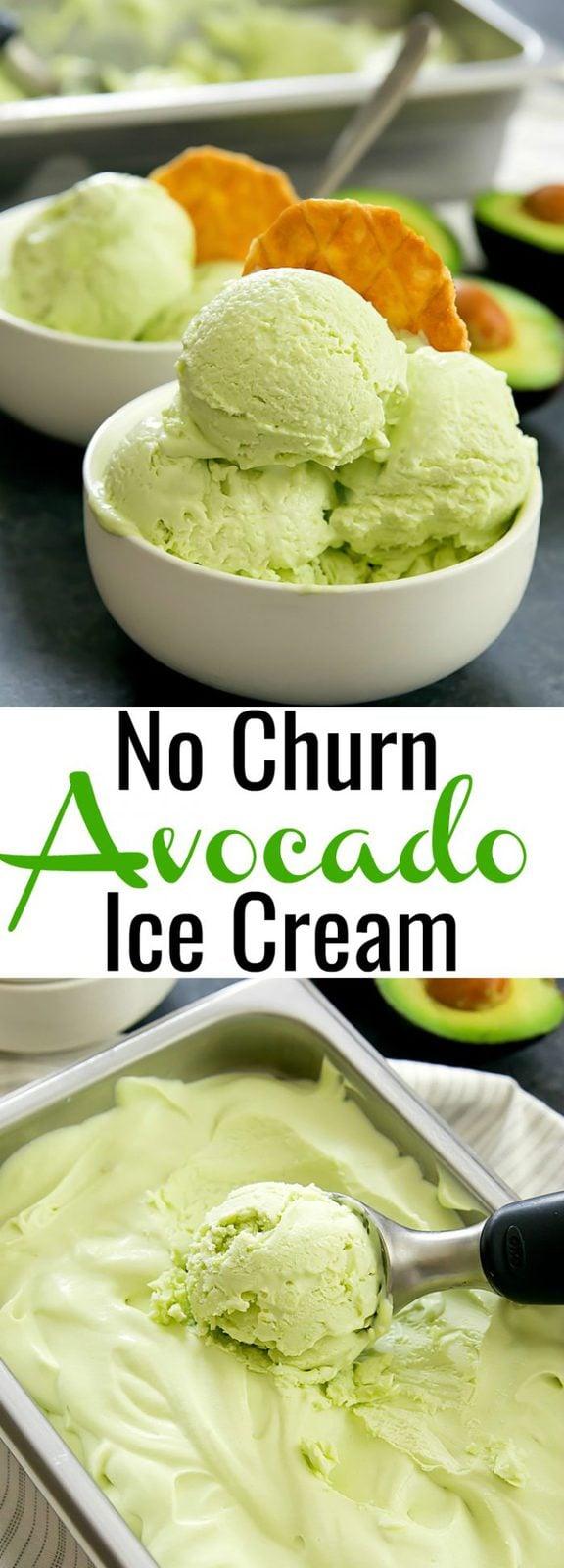 No Churn Creamy Avocado Ice Cream