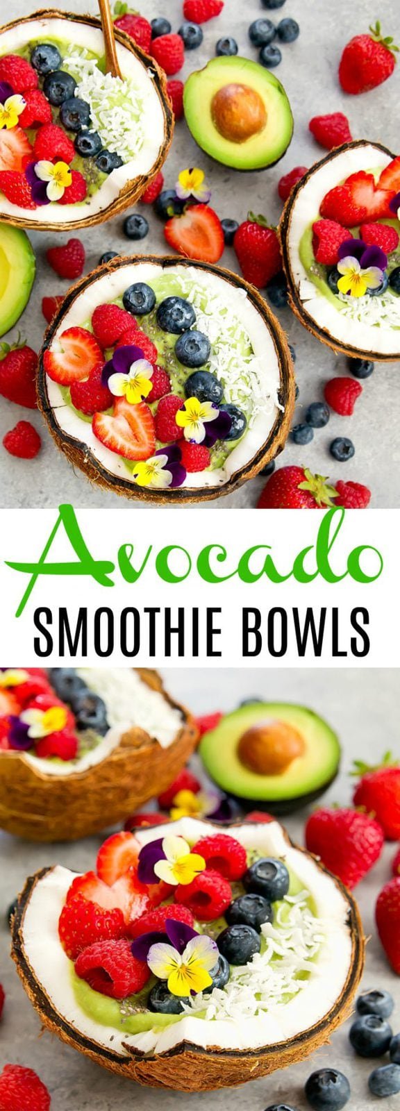 Avocado Coconut Smoothie Bowls