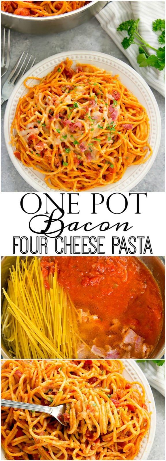 One Pot Bacon Four Cheese Pasta