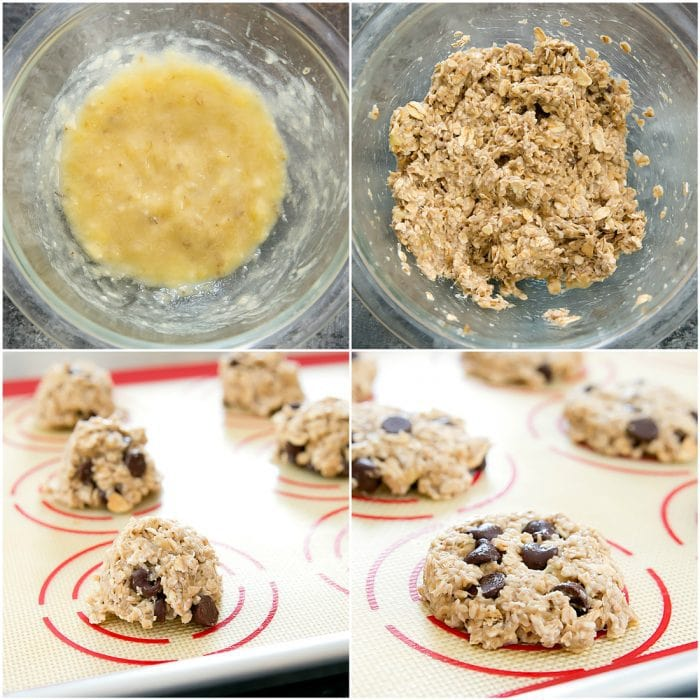 photo collage showing how to make the batter and bake the cookies
