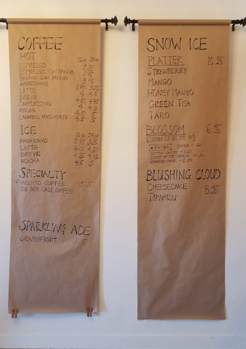 photo of the menu at Blush Desserts