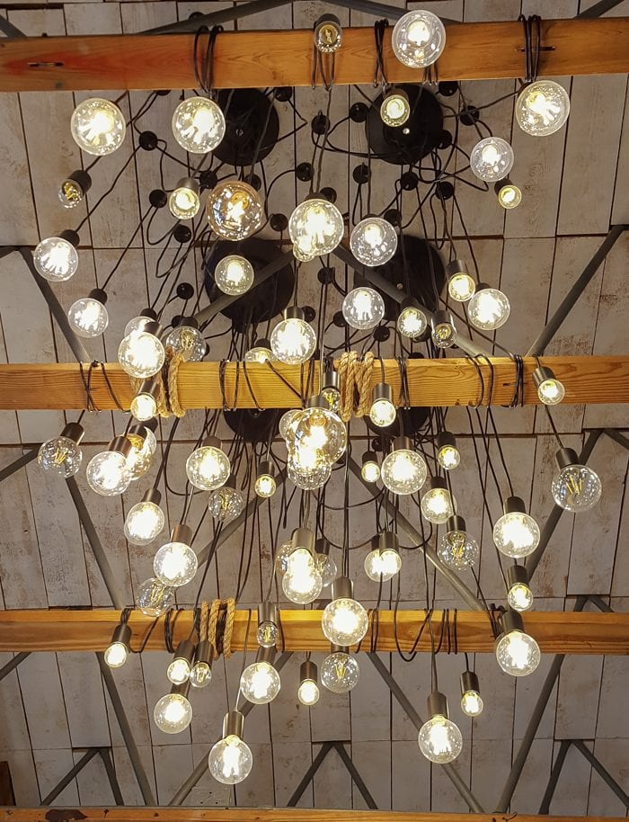 photo of the light fixtures at Blush Desserts