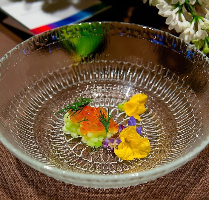 photo of Walnut Soup with Cucumber and Smoked Trout Roe
