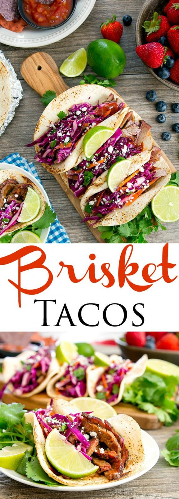 Brisket Tacos with Red Cabbage Carrot Slaw