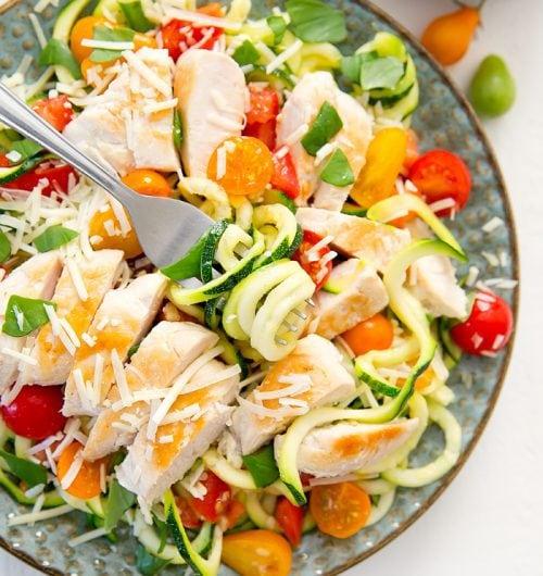 Bruschetta Chicken Zucchini Noodles
