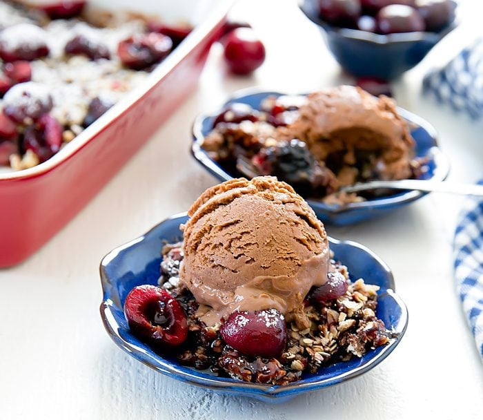photo of two bowls of Chocolate Cherry Crisp Dump Cake