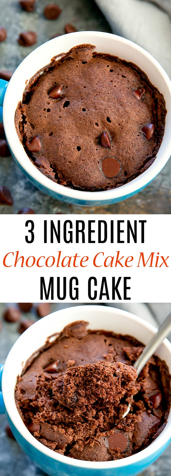 3 Ingredient Chocolate Cake Mix Mug Cake (Eggless). No need for eggs, oil or having to make an entire cake. Cooks in 1 minute in the microwave!