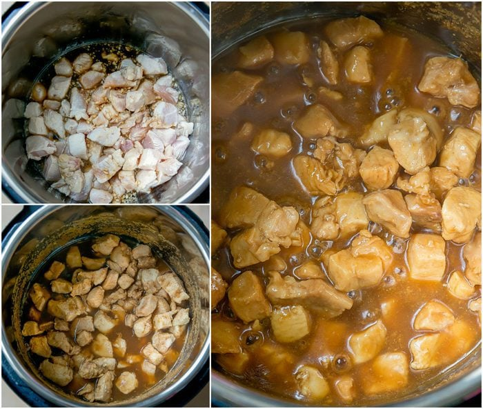 process photo collage showing how to cook the chicken and sauce in the instant pot