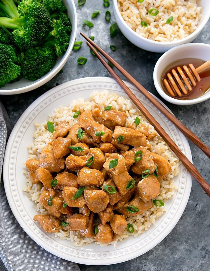 overhead photo of Instant Pot Honey Garlic Chicken