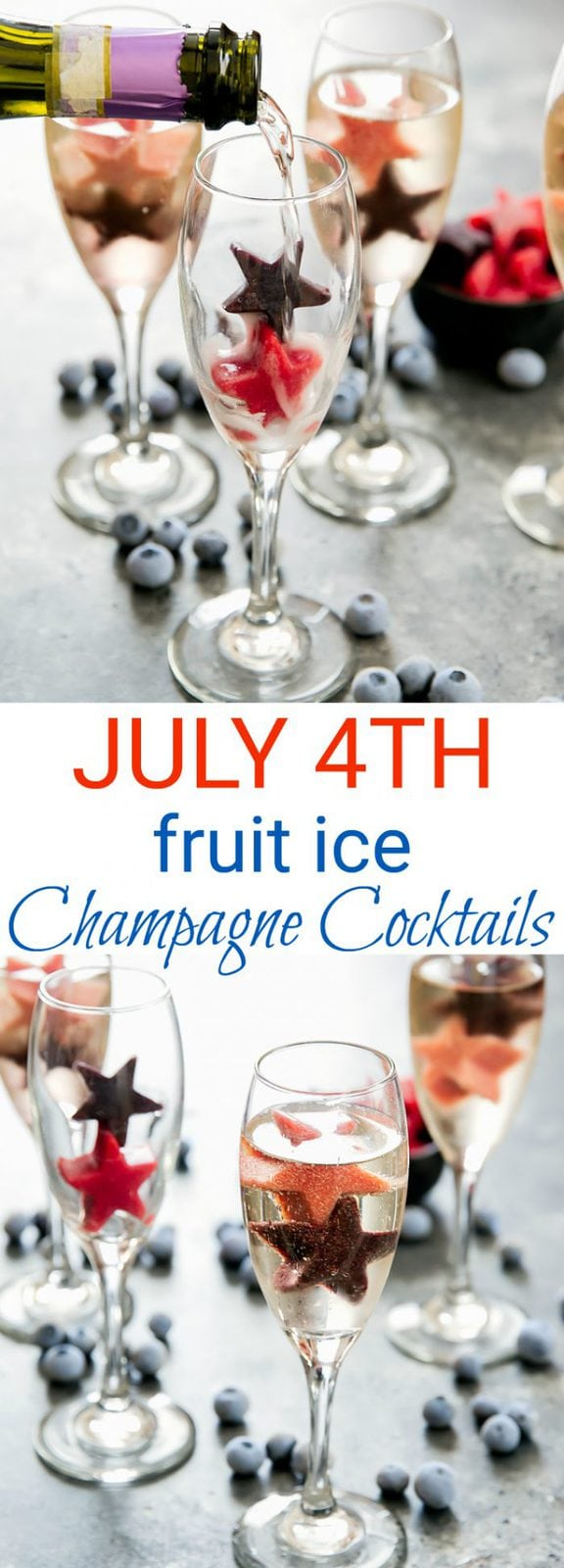 July 4th Fruit Ice Champagne Cocktails