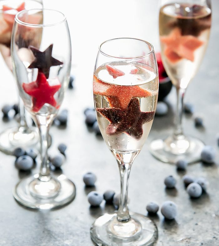 July 4th Fruit Puree Ice Champagne Cocktails