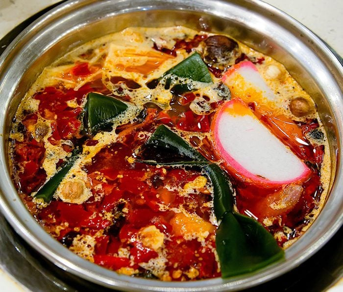 overhead photo of Taiwanese Spicy hot pot