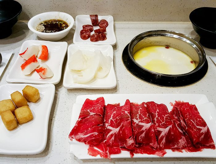 photo of different meats for the hot pot