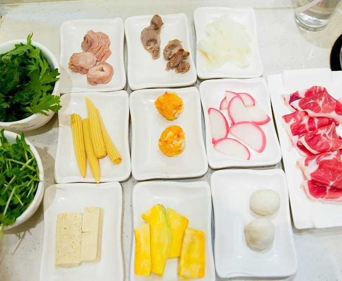 overhead photo of ingredients for hot pot