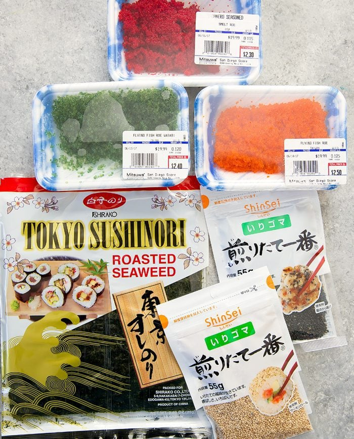 top down shot of ingredients for decorating the sushi donuts