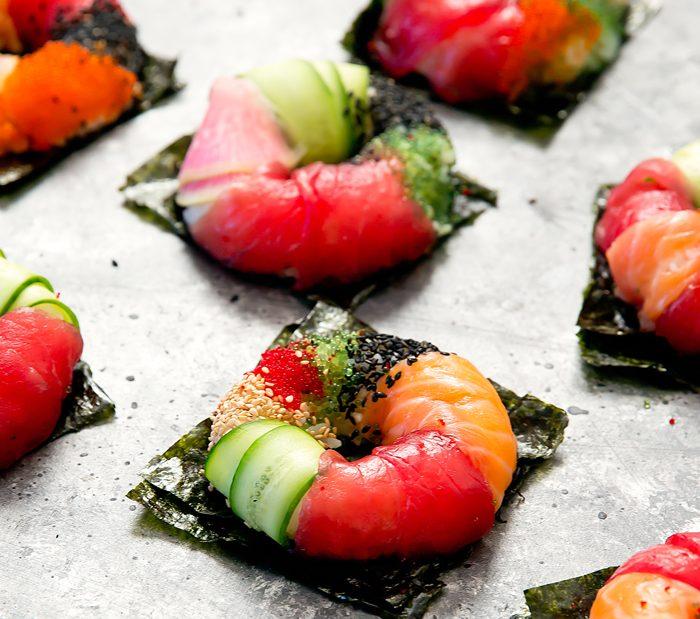 close-up photo of sushi donuts