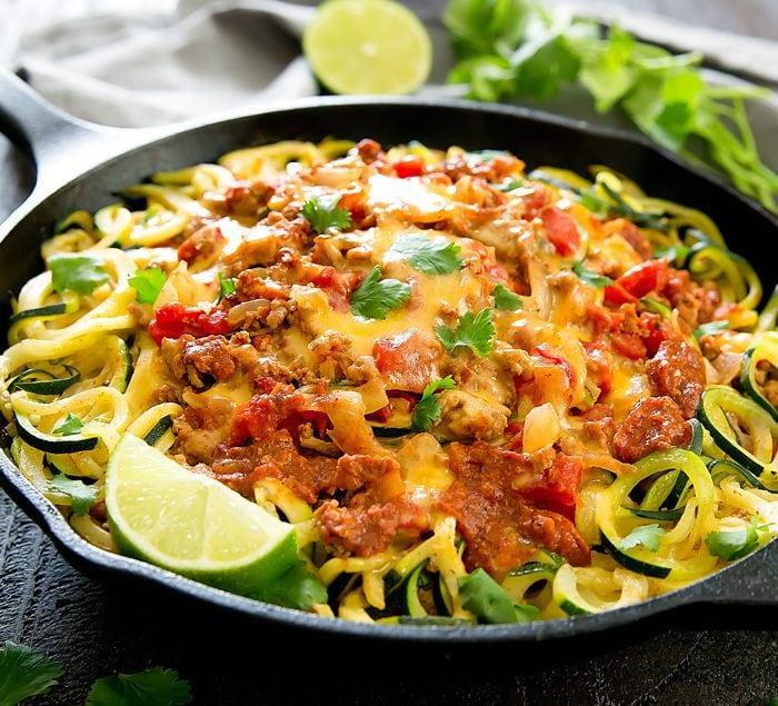 One Pot Taco Zucchini Noodles
