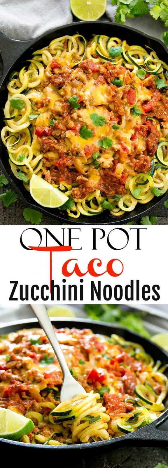 One Pot Cheesy Taco Zucchini Noodles