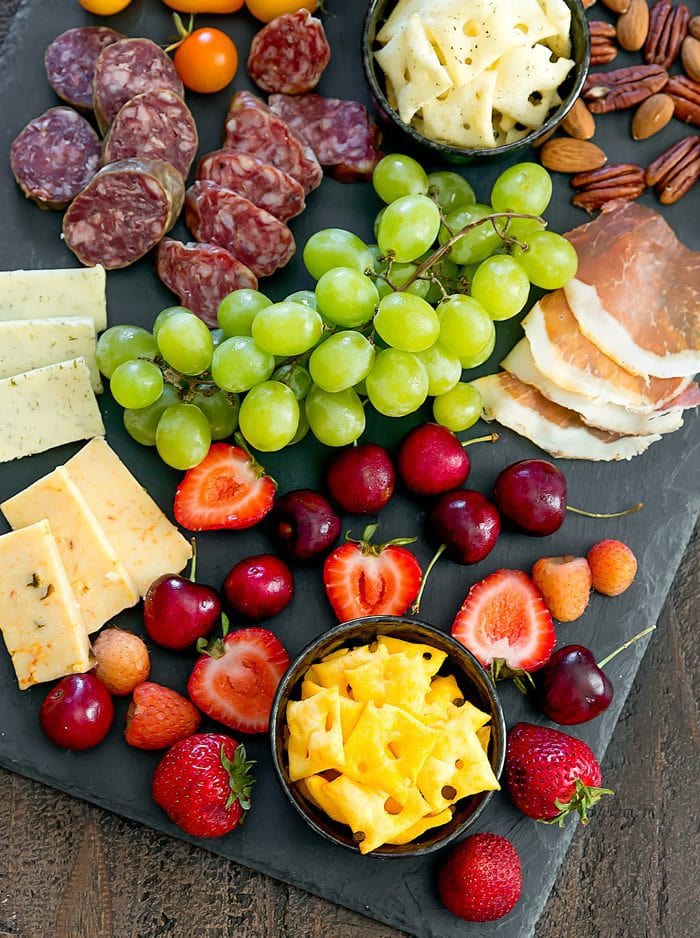 close-up overhead photo of a cheese plate