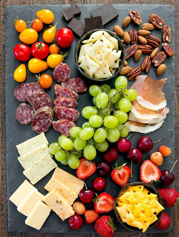 overhead photo of Charcuterie and Cheese Board with Wholey Cheese crackers