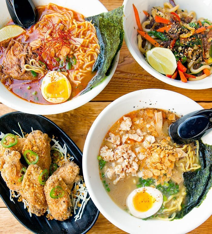 overhead photo of dishes served at Wokou