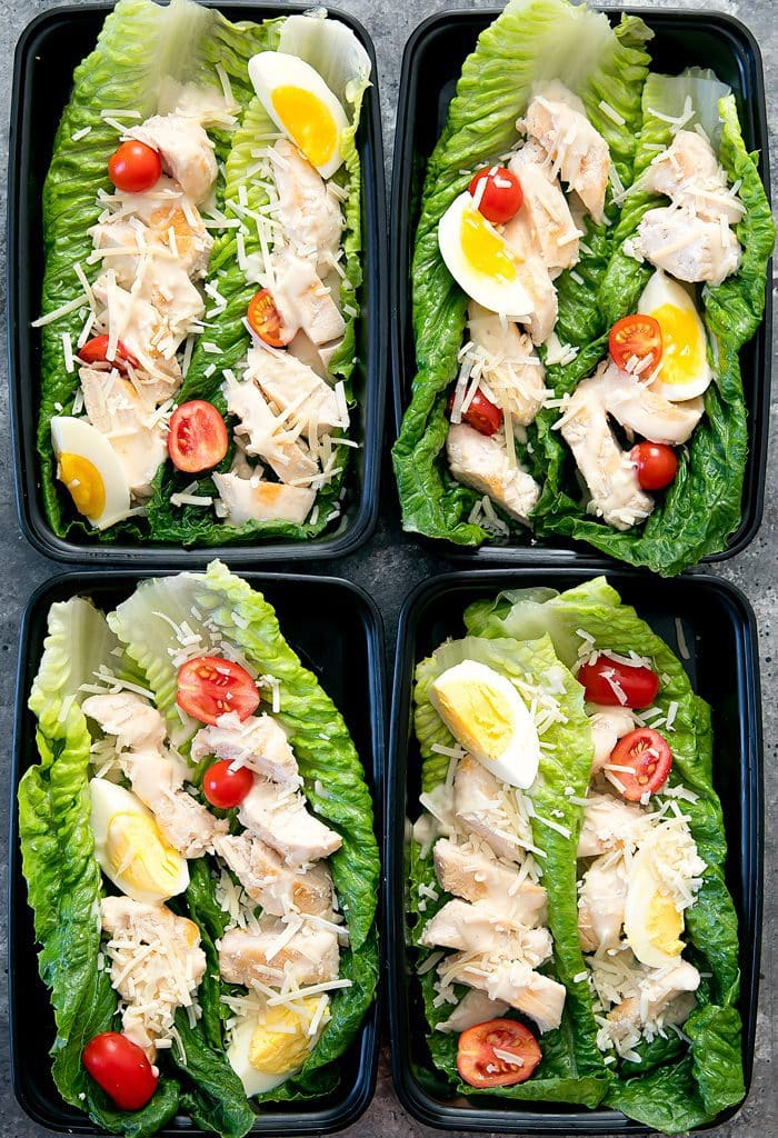 Skinny Chicken Caesar Lettuce Wraps Meal Prep