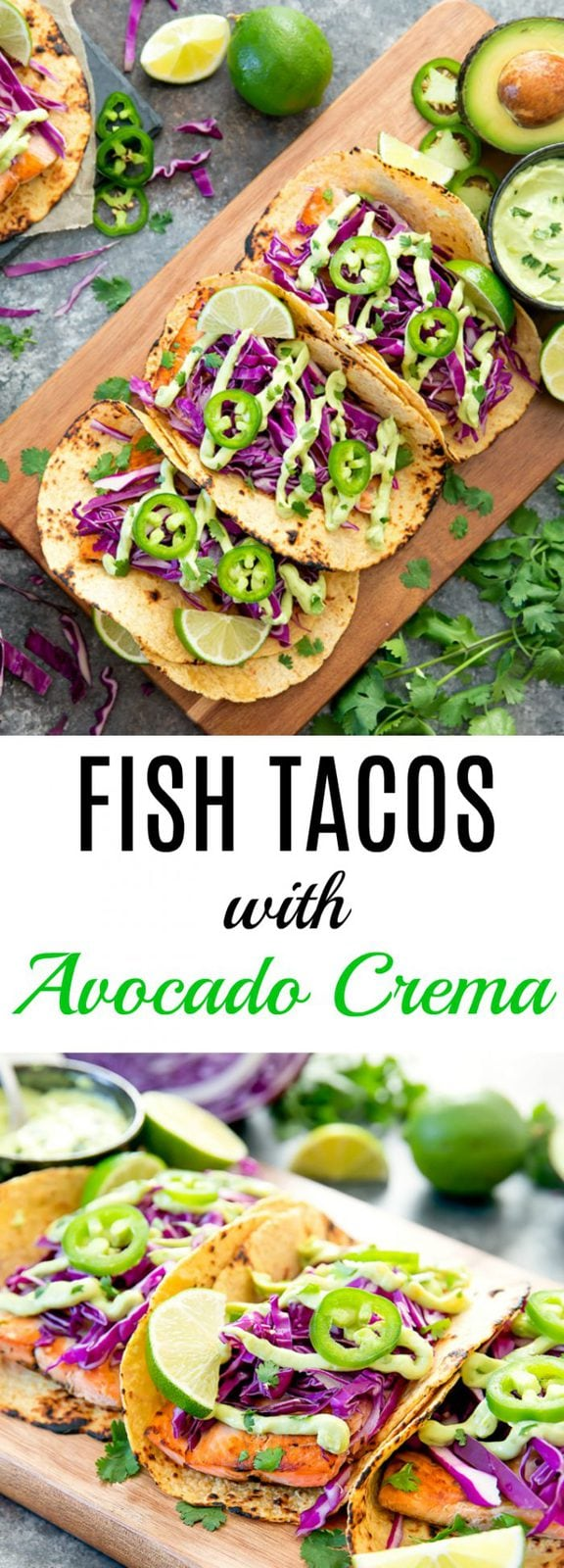Salmon Fish Tacos with Avocado Crema Sauce