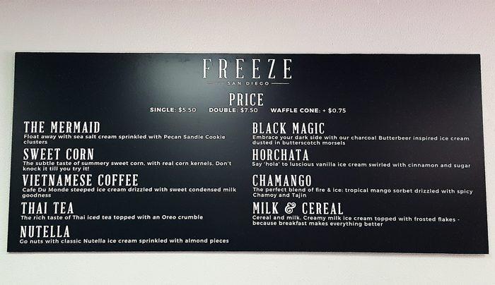 photo of the menu at Freeze