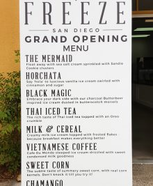 photo of the grand opening menu at Freeze