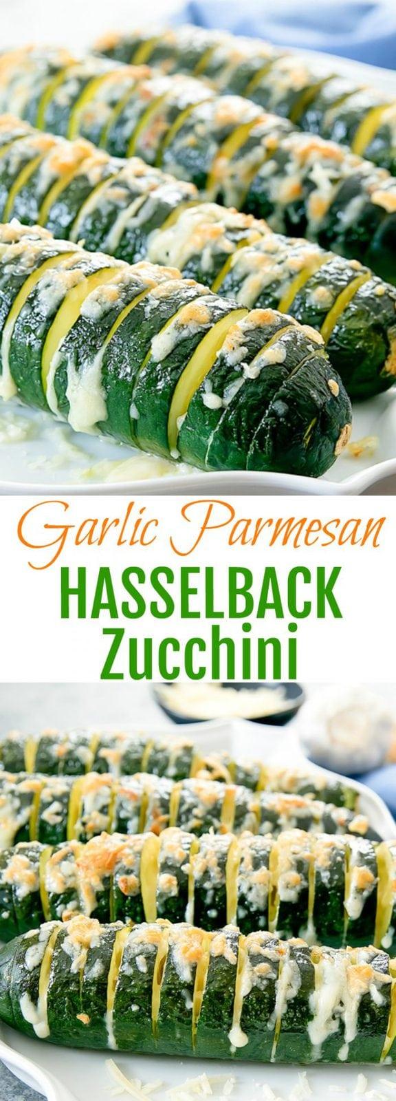 Garlic Parmesan Hasselback Zucchini