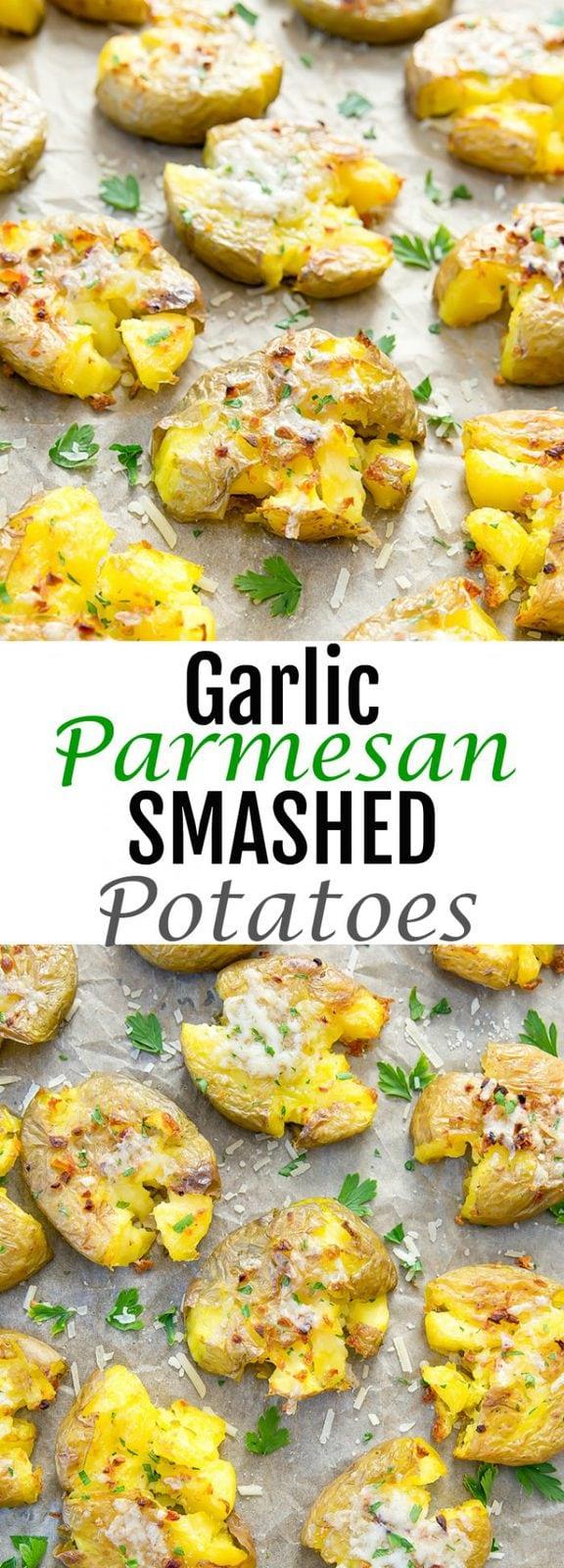 Garlic Parmesan Smashed Potatoes
