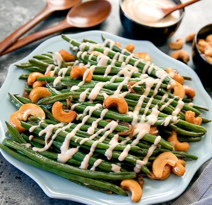 a plate of copy-cat Girl & The Goat green beans