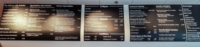 photo of the menu at Nutella Cafe