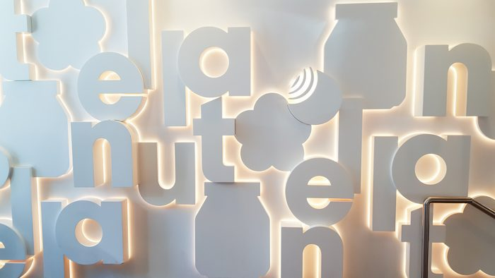 photo of signage inside Nutella Cafe