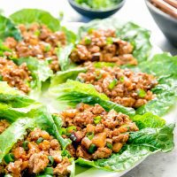 photo of a plate of chicken lettuce wraps