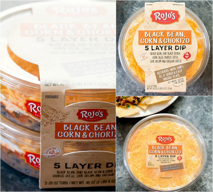 photo collage of Rojo's new Black Bean, Corn & Chorizo 5-Layer Dip