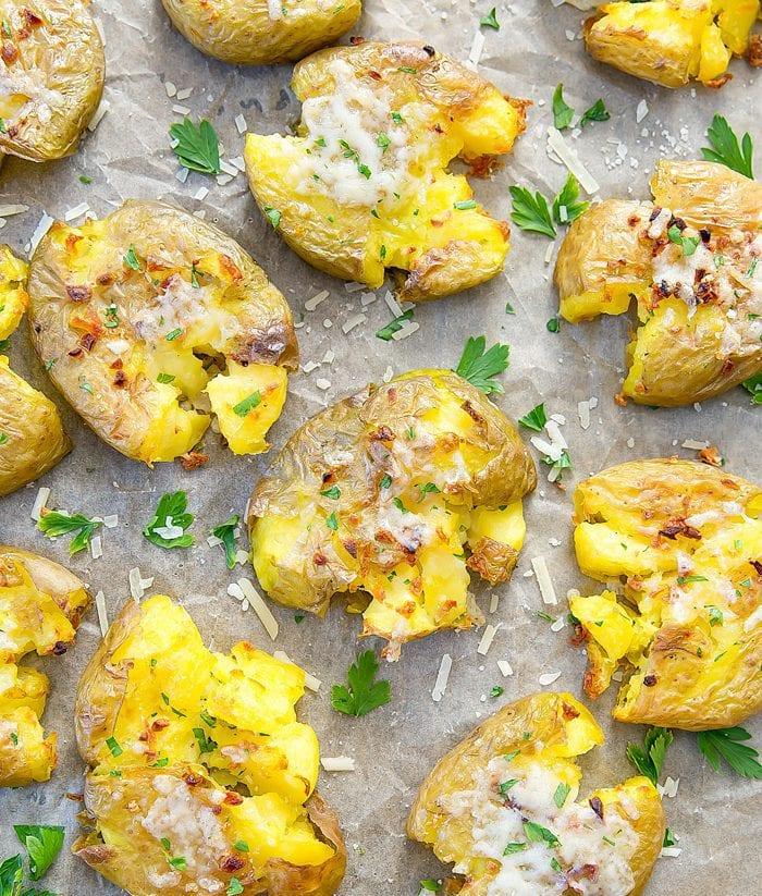 overhead close-up photo of Garlic Parmesan Smashed Potatoes