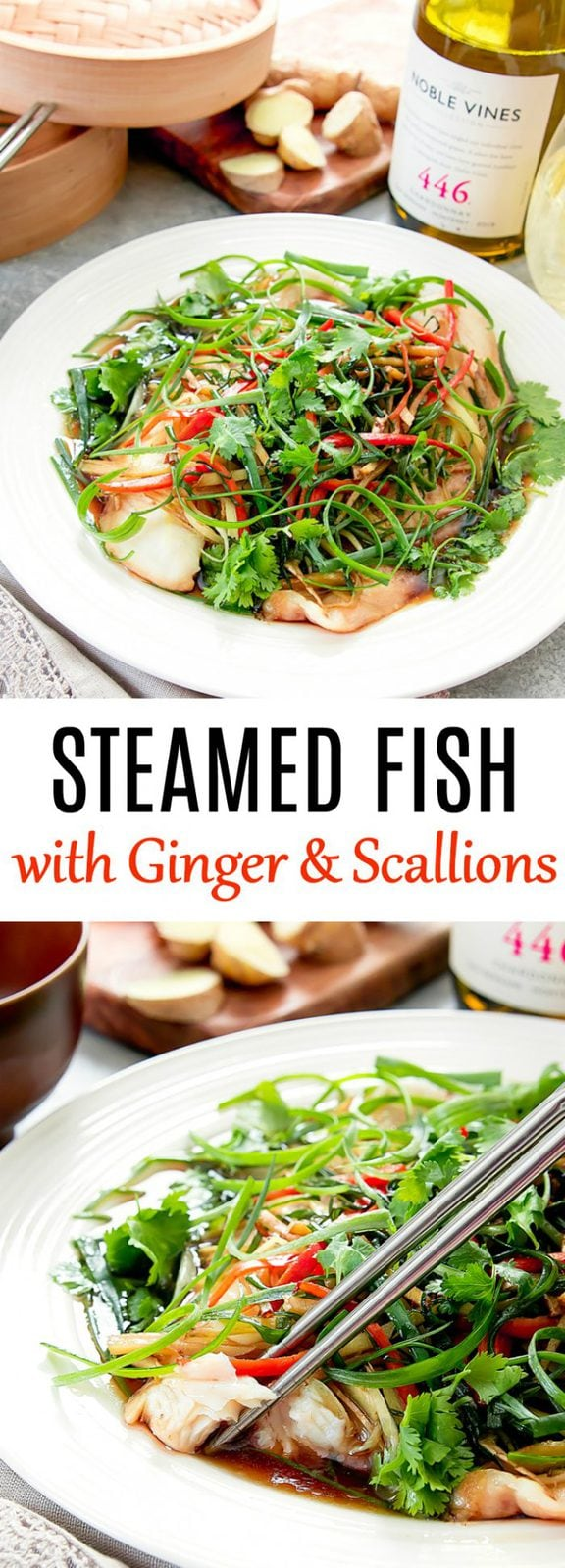 Chinese-style Steamed Fish with Ginger and Scallions